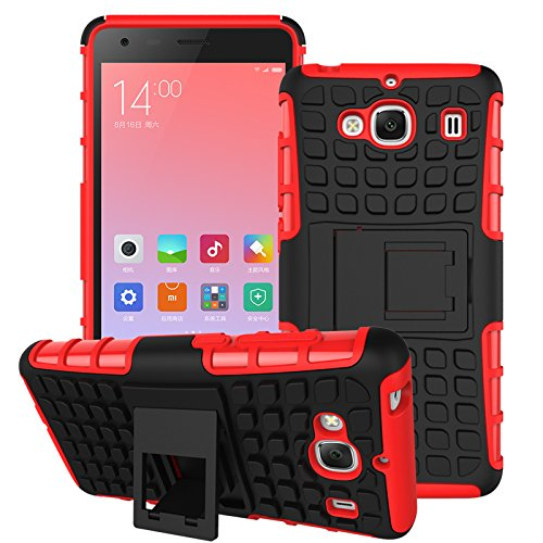 DEFENDER Hard Armor Hybrid Rubber Bumper Flip Stand Rugged Back Case Cover For Xiaomi India RedMi 2 / 2s / 2 Prime - RED