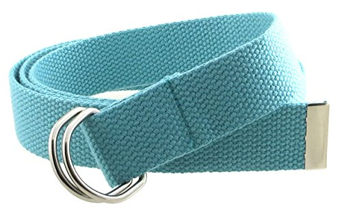 "Thin Web Belt Double D-Ring Buckle 1.25"" Wide with Metal Tip Solid Color (XL-Aqua)"