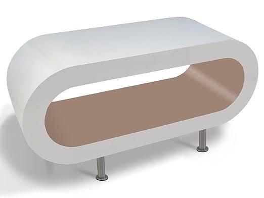 Weiß Glänzend Und Cappacino Reifen Couchtisch / TV-Ständer In Verschiedenen Größen