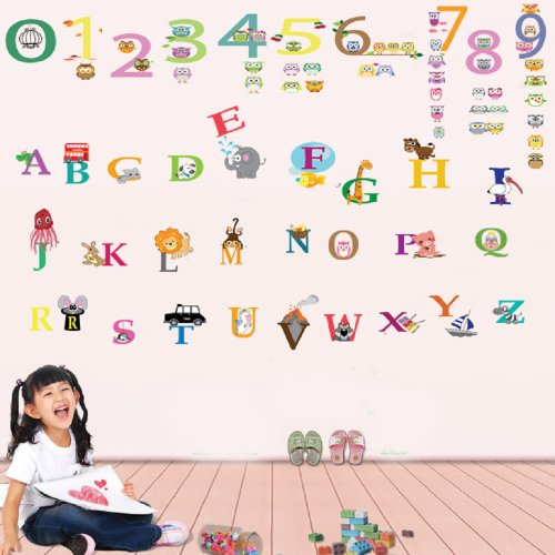 Walplus Kids Children Alphabet Cute Numbering Wall Sticker Mural Decal Art