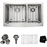 Kraus KHF203-33 33 inch Farmhouse Apron 60/40 Double Bowl 16 gauge Stainless Steel Kitchen Sink