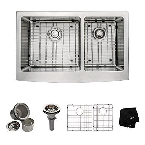 Kraus 33 inch Farmhouse Apron 60/40 Double Bowl 16 gauge Stainless Steel Kitchen Sink