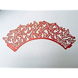 10 rojo Mariposa para cupcakes fundas de boda -, de compromiso con piedra, aniversario,