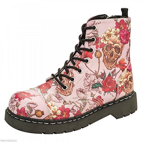 T.U.K. TUK scarpe Donna t2229Anarchic 7occhielli, Rosa Skull Rose Stampa Vegan, TUK T2229 41, Multicolore