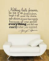 Nothing Lasts Forever.. Marilyn Monroe Quote Vinyl Wall Decal Sticker Art by Imprinted Designs
