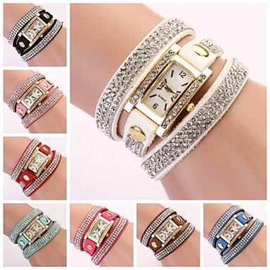 Fenkoo orologio rettangolare banda di strass linea di diamante delle donne