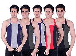 Zimfit Superb Gym Vests - Pack of 5 (BLU_GRN_GRY_BLK_GRN_85)