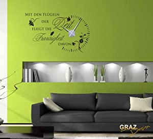 wandtattoo uhr mit uhrwerk wanduhr design zitat mit den fl geln der zeit deko f r wohnzimmer. Black Bedroom Furniture Sets. Home Design Ideas