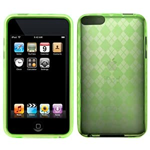 GTMax Durable Gel Skin Protector Case - Green Checker For Apple iPod Touch 8GB 32GB 64G 3rd 3G Generation NEWEST MODEL
