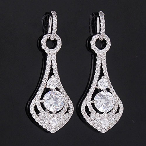 High-End Engagement 18K White Gold Plated Swiss Cubic Zirconia Charm Chandelier Dangle Earrings E046A