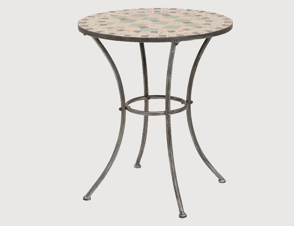 SIENA GARDEN Fiore Tisch 60 cm reduziertes schwarz-silber Gestell: Eisen Mosaik-Optik