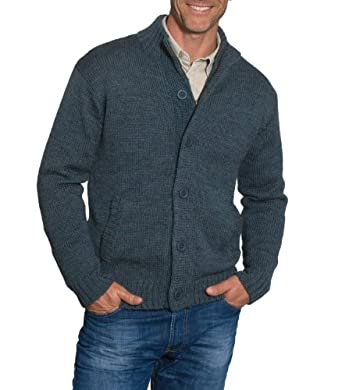 Wool Overs Men's British Wool Zip and Button Cardigan Kiltimagh Small