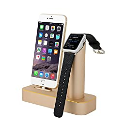 Niutop Apple Watch Stand & iPhone Stand, Premium [2 in 1] Apple Watch iPhone [Charging Dock] Solid Aluminum Body Desk Charge Charging Station, Apple Watch Charging Stand Cradle Holder for Apple iWatch 38mm/42mm, Comfortable Viewing Angle Charging Stand Ho