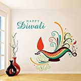 Decal Style Happy Diwali Wall Sticker Large Size- 26*22 Inch Color - Multicolor