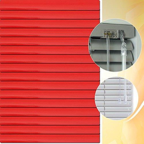 Aluminium Jalousie 165 x 160 cm (Breite x Höhe) – Lamellenfarbe 1308 rot, R?ückseite weiß // Maßanfertigung Alu Jalousien Jalousette Rollo Plissee