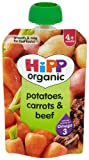 Hipp Organic Potatoes-Carrots and Beef Pouch Stage 1-4 Months 100 g (Pack of 2, Total 10 Pouches)