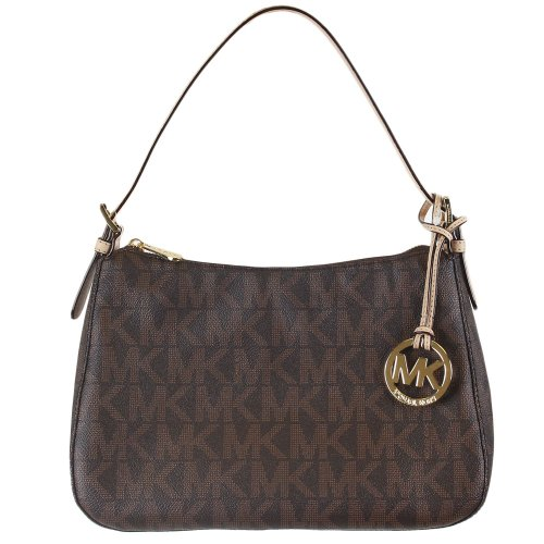 Michael Kors Mk Signature Pvc Top Zip Shoulder Handbag Brown