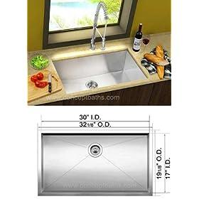 "32"" Stainless Steel Zero Radius Undermount Single Bowl Kitchen Sink, free bottom grid and drain"