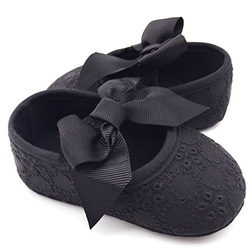 Elesa Miracle Baby Girl Mary Jane Soft Sole Bowknot Prewalker Shoes in Gift Box (6-12 Months, Black)