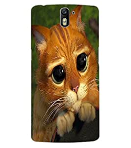 ColourCraft Cute Cat Design Back Case Cover for OnePlus One