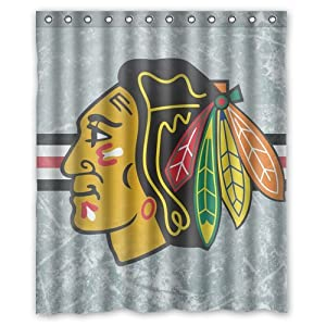 Green Store Chicago Blackhawks Custom Waterproof Polyester Fabric Shower Curtain
