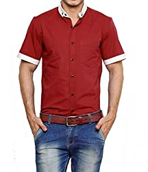 Dazzio Men's Slim Fit Cotton Casual Shirt (DZSH0917_Red_42)