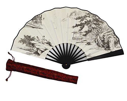 Amajiji High Quality Handmade Silk Folding fan for Men Chinese Style (33CM) (003)
