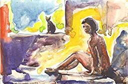 1 0 x 7, Sitting naked Girl with cat, watercolor original by Andrejs Bovtovics. FREE shipment.