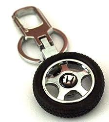 Glow Time Honda Wheel Keychain - (8cmL x 6cmB, Silver)