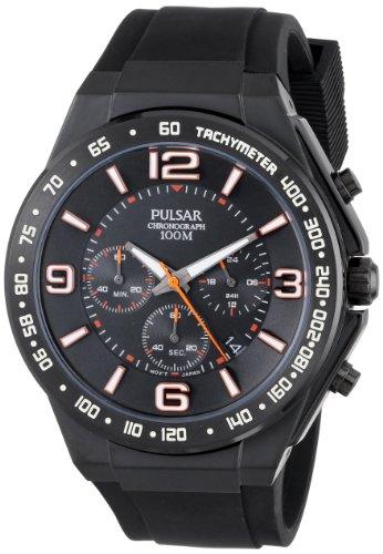 Pulsar PT3403 45 mm Men's Black Polyurethane Chronograph Watch