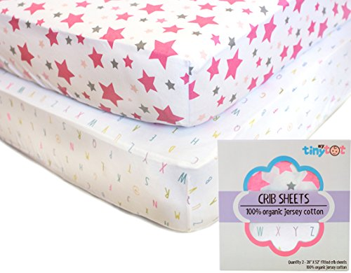 Fitted Crib Sheets - 100% Organic Jersey Cotton - 2-Pack, Soft, Breathable, Fits all Standard Baby Cribs & Mattresses, Cute Designs for Girls (Tiny Tots Mobile compare prices)