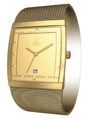 Obaku Men's Quartz Watch with Gold Dial Analogue Display and Gold Stainless Steel Bracelet V102GGGMG-N