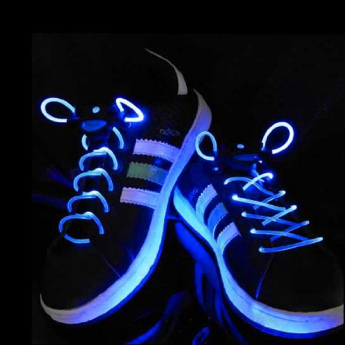 Top Plaza Muti-Color Cool Led Flash Lighting Glow Shoelaces Shoe Laces Disco Party Skating (Blue)