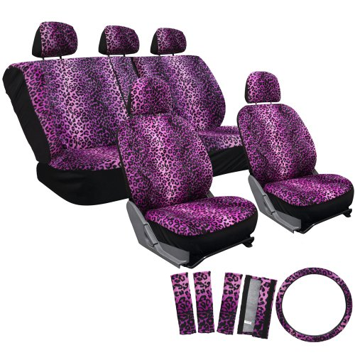 OxGord 17pc Leopard Seat Cover Set for the Ford Focus Coupe in Purple Leopard Print (Girl Ford Accessories compare prices)