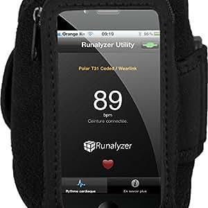Runalyzer® [Noir, Taille M/L] - Petit brassard sport souple et léger avec fermeture éclair pour iPhone 3G/3GS/4/4S et iPod touch