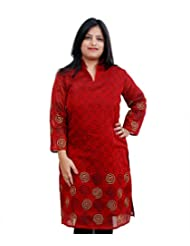 Viniyog Women Hand Woven Maheshwari Cotton-Silk Hand Block Printed Red Kurti