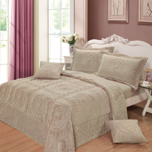 Dada Bedding Yg12-117K Comfy Paisley 5-Piece Bedspread Set, King, Grey front-781596