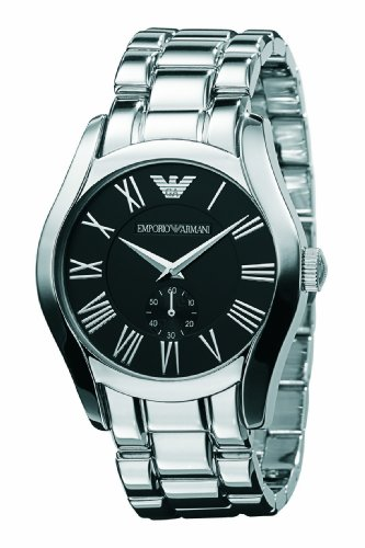 Emporio Armani Gents Round Case Black Dial Stainless Steel Bracelet Watch