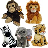 24CM ANIMALS COSY PLUSH TOY SOFT KIDS CUDDLY NEW TIGER MONKEY CHILDRENS XMAS FUN