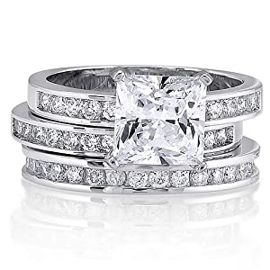 Sterling Silver Ring Princess Cubic Zirconia CZ Stackable Engagement Ring - Ideal Gift For Mother Day, Anniversary, Engagement, Wedding, Birthday, For Her