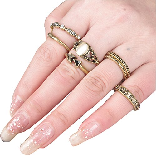 SUNSCSC-Vintage-Rhinestone-Crystal-Above-Knuckle-Stacking-Band-Midi-Mid-Ring-Set-of-7-Pcs