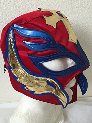 [REY MYSTERIO red W/ BLUE WRESTLING MASK NACHO LIBRE MASK] (Childrens Nacho Libre Costume)