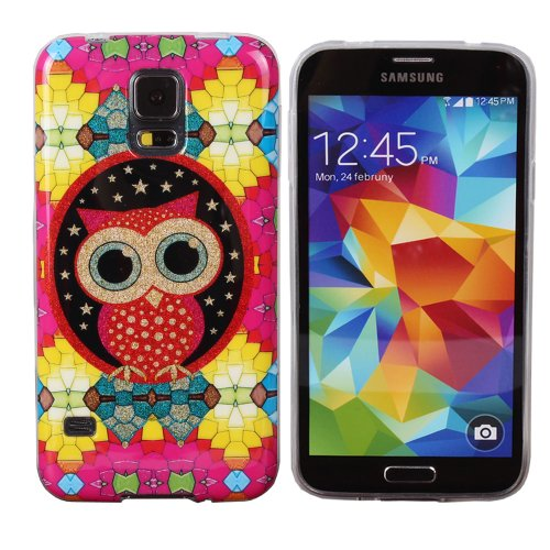 Teenitor(Tm) Stylish Bling Cute Dream Owl Tpu Protective Case For Samsung Galaxy S5,With Screen Protector, Stylus, Earphone Cable Organizer (Shipping From Usa)