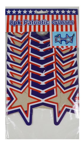 12 Patriotic Usa Paper Glasses Star Shaped Sun Shades July 4Th BBQ Party Favors