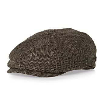 Brixton Brood Snap Cap Brown/Khaki Herringbone, L