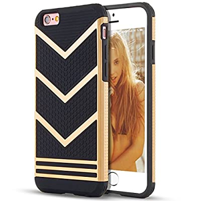 IPhone 6 Case,[4.7inch]by Ailun,Slip-Proof Rugged Bumper,Non-Gap Fit,Shock-Absorption&Anti-Scratches,Fingerprints&Oil Stains,Protective&Stylish,Ultra Slim Back Cover[Gold Black] by Siania