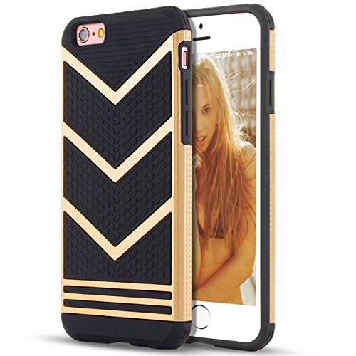 IPhone 6s Case,iPhone 6 Case,[4.7inch]by Ailun,Slip-Proof Rugged Bumper,Non-Gap Fit,Shock-Absorption&Anti-Scratches,Fingerprints&Oil Stains,Protective&Stylish,Ultra Slim Back Cover[Gold Black]
