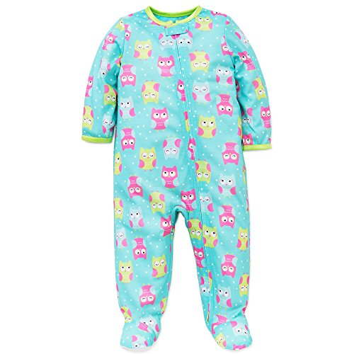 Little Me Baby Girls Owl Soft Zip Footie Pajamas Footed Sleeper Aqua Pink 18M