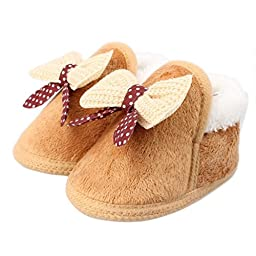 Mosunx Toddler Infant Baby Cute Boots Soft Sole Warm Shoes (12, Brown)