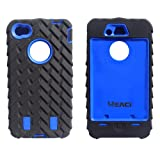 Meaci® Iphone 4 4s Case 3in1 Tire Stripe Combo Hybrid Defender High Impact Body Armorbox Hard Pc&silicone Case (blue)